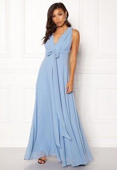 Goddiva Multi Tie Chiffon Dress Blue Bubbleroom.no