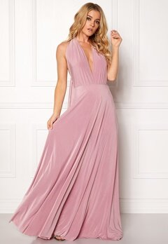 Goddiva Multi Tie Maxi Dress Dusty Pink Bubbleroom.no