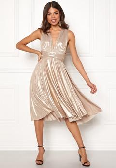 Goddiva Multi Tie Midi Dress Gold Bubbleroom.no