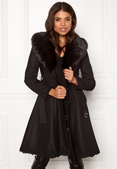 Ida Sjöstedt Nadine Coat Wool Black/Black Fur Bubbleroom.no
