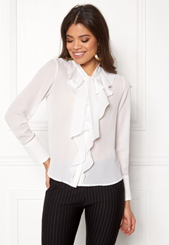 ONLY New Intu LS Frill Shirt White Bubbleroom.no