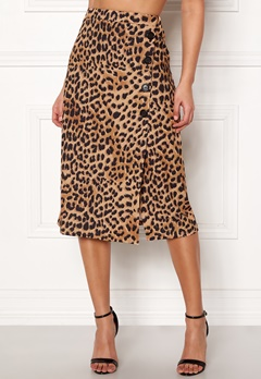 New Look Animal Asym Button Skirt Brown Pattern Bubbleroom.no