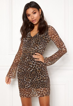 New Look Animal Plisse Twist Dress Brown Pattern Bubbleroom.no