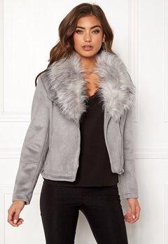 New Look Ava Shawl Collar Suedette Grey Bubbleroom.no