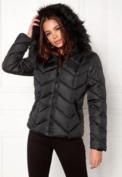 New Look Chevron Puffer Jacket Black Bubbleroom.no