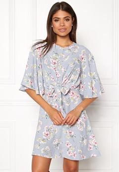 New Look Frances Floral Knot Dress Light Grey Bubbleroom.no