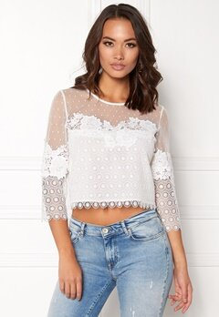 New Look Go Dobby Mesh Lace Detail White Bubbleroom.no