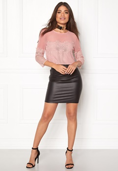 New Look Go LS Mesh Lace Crop Mid Pink Bubbleroom.no