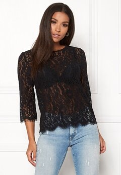 New Look Lace Zip Back Sleeve Tee Black Bubbleroom.no