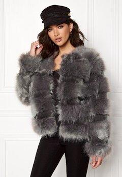 New Look Pelted Fur Short Coat Grey Bubbleroom.no