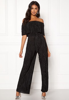 New Look Plisse Bardot Jumpsuit Black Bubbleroom.no