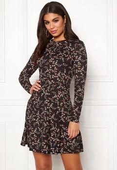 New Look Print L/S Flower Dress Black Pattern Bubbleroom.no