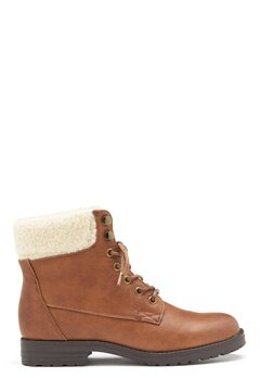 New Look PU Shearling Lace up Boot Tan Bubbleroom.no