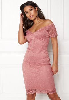 New Look Scallop Bardot Midi Dress Shell Pink Bubbleroom.no