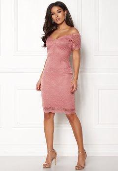 New Look Scallop Bardot Midi Dress Shell Pink Bubbleroom.no