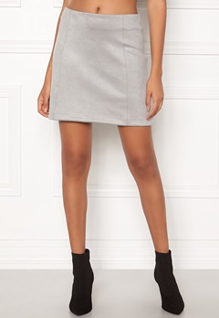 New Look Seam Suedette Mini Skirt Pale Grey Bubbleroom.no