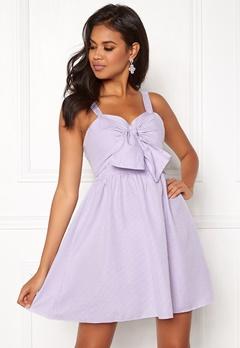 New Look Seersucker Twist Front Dress Purple Pattern Bubbleroom.no
