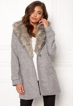 New Look Shawl Fake Fur Jacket Grey Bubbleroom.no