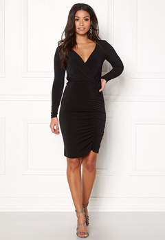 New Look Slinky Wrap Dress Black Bubbleroom.no