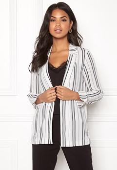 New Look Soft Crepe Stripe Blazer White Pattern Bubbleroom.no