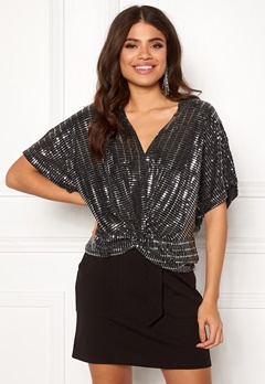 New Look Sparkle Twist Front Top Black Pattern Bubbleroom.no