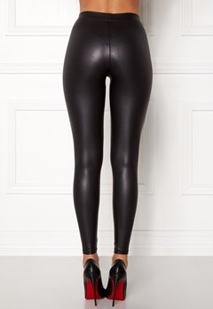 Pieces New Shiny Leggings Black Bubbleroom.no