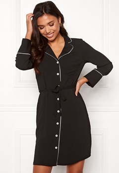 New Look Piped Belted Dress Black Pattern Bubbleroom.no