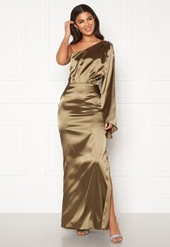 Nicole Falciani X Bubbleroom Nicole Falciani Satin Gown Green Bubbleroom.no