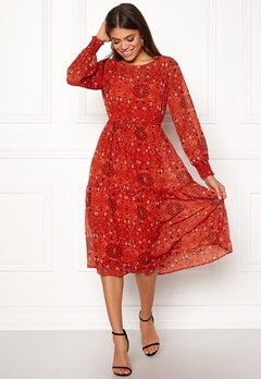 VILA Nilah L/S Midi Dress Orange Com Bubbleroom.no