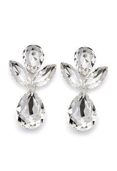 SNÖ of Sweden Noemi Big Drop Earrings Silver/Clear Bubbleroom.no