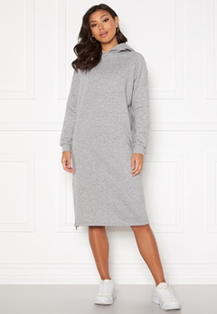 Noisy May Helene L/S Sweat Dress Light Grey Melange Bubbleroom.no
