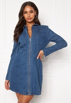 Noisy May Lisa Denim Zip Dress Medium Blue Denim Bubbleroom.no