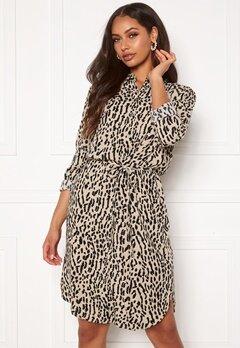 OBJECT Bay L/S Shirt Dress Humus AOP New Animal Bubbleroom.no