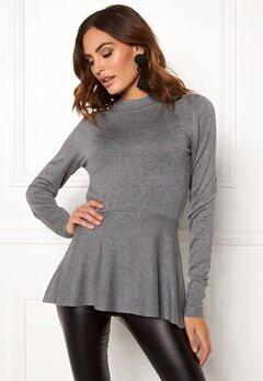 OBJECT Carin L/S Knit Pullover Medium Grey Melange Bubbleroom.no