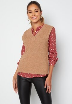 Object Collectors Item Malena S/L knit waistcoat Chipmunk Melange bubbleroom.no