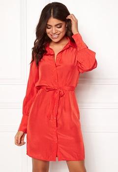 OBJECT Dotteo L/S Shirt Dress Fiery Red Bubbleroom.no
