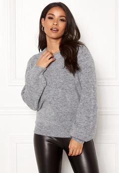 OBJECT Eve Nonsia LS Knit Pullover Light Grey Melange Bubbleroom.no