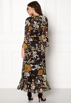 OBJECT Fabrice L/S Long Dress Black/Floral Bubbleroom.no