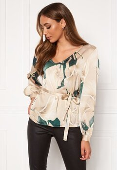 OBJECT Fania L/S V-Neck Blouse Humus AOP Lily Bubbleroom.no