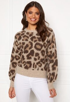OBJECT Leoana L/S Knit Pullover Humus Pattern:leo Bubbleroom.no