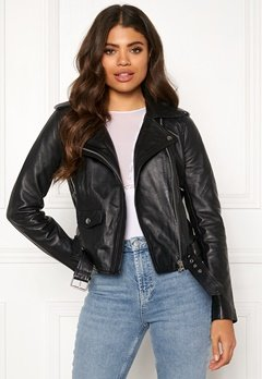 OBJECT Nandita Leather Jacket Black Bubbleroom.no