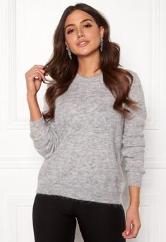 OBJECT Nete L/S Knit O-neck Pullover Light Grey Melange Bubbleroom.no
