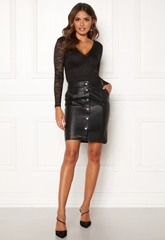 OBJECT Nima HW Leather Skirt Black Bubbleroom.no
