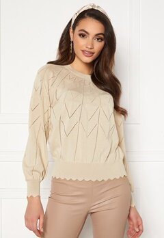 OBJECT Noelle L/S Knit Pullover Sandshell Bubbleroom.no