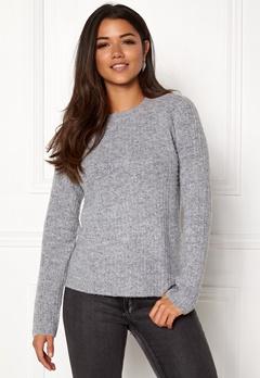 OBJECT Nonsia Rib Knit Pullover Light Grey Melange Bubbleroom.no