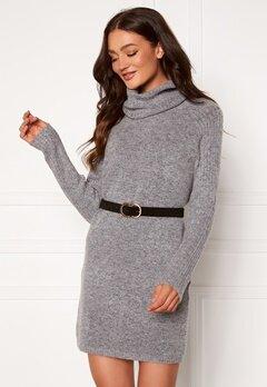 OBJECT Nonsia Rib Rollneck Dress Light Grey Melange Bubbleroom.no