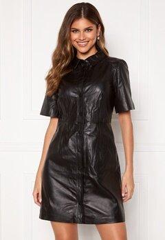 OBJECT Pria Leather Dress Black Bubbleroom.no