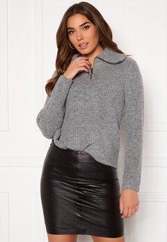 OBJECT Rachel L/S Knit Pullover Light Grey Melange Bubbleroom.no
