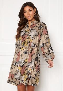 OBJECT Stine L/S Shirt Dress Sandshell Abstract Bubbleroom.no