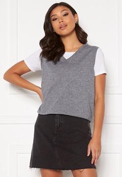 OBJECT Thess S/L Knit Waistcoat Medium Grey Melange Bubbleroom.no